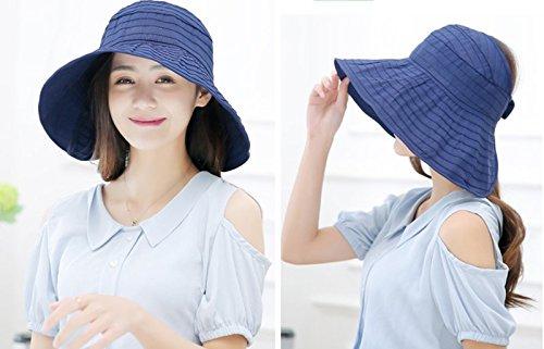e10cc6507a949 Women s Summer Reversible Empty top Beach Sun Brim Hat Sunshade Foldable  Wide Brim Beach Cap UPF