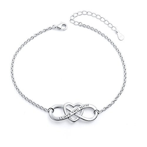 """SILVER MOUNTAIN S925 Sterling Silver """"I Love You Mom """" Heart Infinity Bracelet for Mother by SILVER MOUNTAIN (Image #7)"""