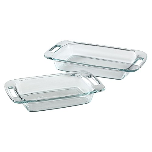 Pyrex Easy Grab 2 Piece Oblong Baking Dish Set, Clear