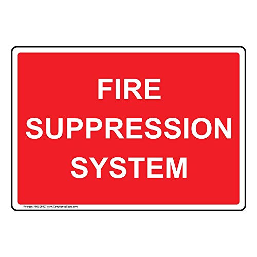 Fire Suppression System Safety Sign, Red 14x10 in. Aluminum for Fire Safety/Equipment by ComplianceSigns