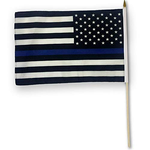 Hebel US American Thin Blue Line Stick Flag 12x18in - Blue Live - Police Live Matter | Model FLG - 951