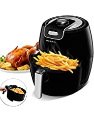 MISPO Electric Air Fryer Comes with Recipes,Temperature Control,3.6QT Oilless Non-stick Detachable Dishwashable Basket,Black fryer Accurate Manual dials, Auto Shut off, 3.5L Capacity,Black