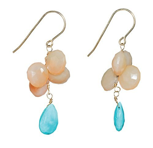 Peach & Turquoise Moonstone Dangle Earrings on 14K Gold Filled French Earwire - Moonstone Gold Chandelier Earrings