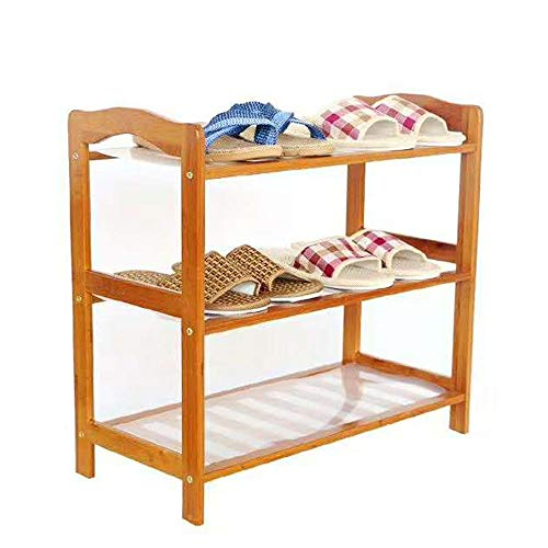 Multi-Functional Shoe Storage Rack Unfinished Natural Wood Shoe Rack 3-Tier Fits 6 Pairs of Shoes for Hallway Entryway Bedroom Dormitory (Color : Solid Wood Color, Size : 682550cm)
