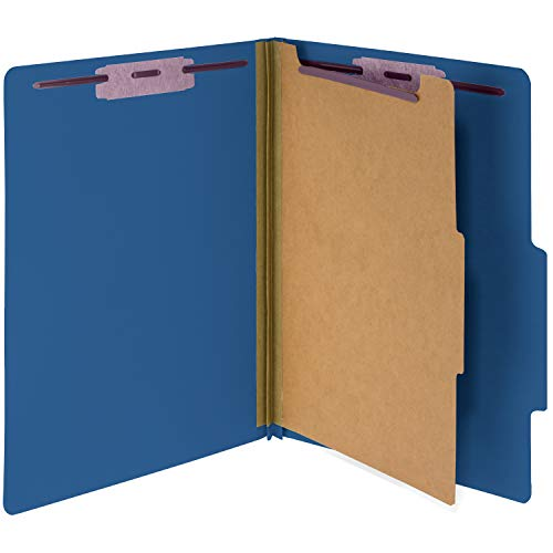 10 Dark Blue Classification Folders- 1 Divider-2'' Tyvek expansions- Durable 2 Prongs Designed to Organize Standard Medical Files, Law Client Files, Office Reports– Letter Size, Dark Blue, 10 ()