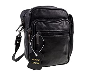 Men's Unisex Small Black Leather Bag Travel Organiser Pouch Camera ...
