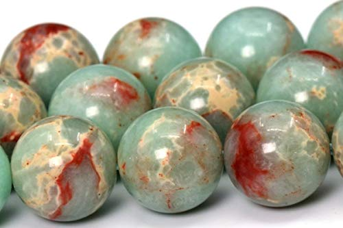 12MM Natural Mint Blue Sea Sediment Imperial Jasper Beads AAA Round Beads 14