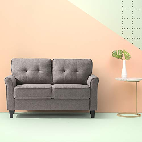 Zinus Sayan Traditional Upholstered 56.69 Inch Sofa Couch / Loveseat, Sand Grey