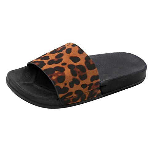 Orangeskycn Women Sandals Summer Retro Roman Leopard Print Slippers Fashion Casual Home Flip Flops Flat Beach Shoes Yellow ()