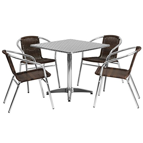 MFO 31.5'' Square Aluminum Indoor-Outdoor Table with 4 Dark Brown Rattan Chairs