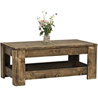 Knotty Cedar Coffee Table with Rustic Dark Walnut Wood Stain by del Hutson Designs (16H x 39L x 20.5W)