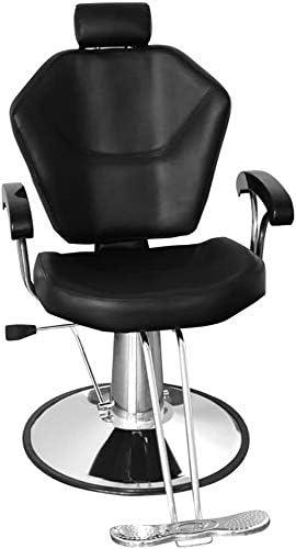 TTPF Giratoria Silla de barbero, cálido Silla reclinable Silla de peluquería Estilo Modular hidráulica Libres del Tatuaje del Apoyo para la Cabeza y el reposapiés,Black