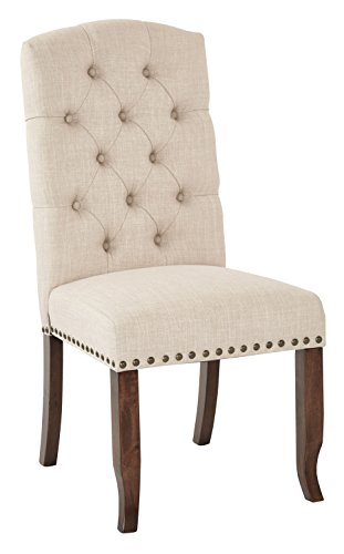 Ave Six Jessica Tufted Dining Chair in Linen Fabric with Bronze Nailheads and Coffee Legs (Fabric Covered Dining Chairs)