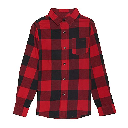 Sleeve Long Kids Flannel (French Toast Big Boys' Long Sleeve Flannel Shirt, Red, 12)