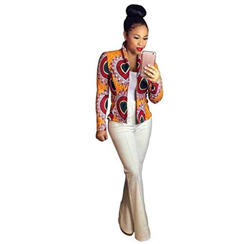 Corto Stampato Fashion Semplice Donna Outerwear Libero Vintage Autunno Elegante Giubbino Tempo Lunghe Fit Giacche Primaverile Maniche Cappotto Facile Glamorous Giallo Slim qYn5wzzX