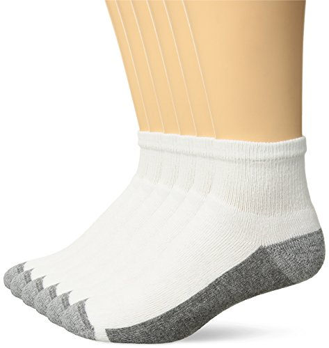 Hanes Men's Comfortblend Max Cushion 6-Pack Ankle Socks, White, Shoe Size: 6-12