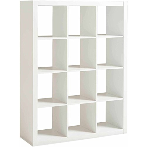 (Shelly Shelves Wood Storage Organizer - 12 Cube Storage Organizer - White)
