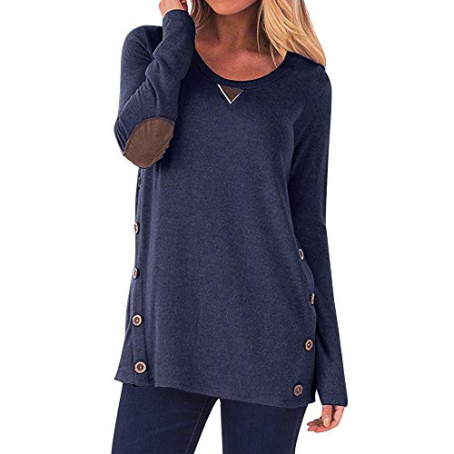 Oasisocean Women's Round Neck Pullover Sweatshirt Casual Long Sleeve Loose Tunic Button Blouses Shirt Tops