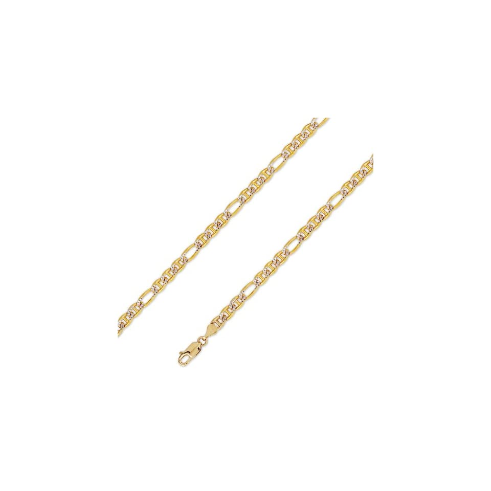 14K Solid Yellow 2 Two Tone Gold Ficonucci Chain Necklace 4.6mm (11/64