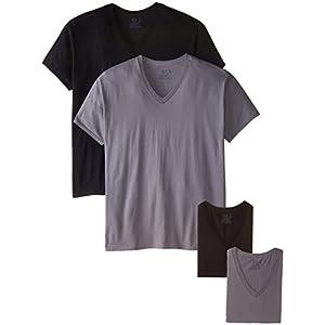 Fruit of the Loom Men's Extended Sizes V-Neck T-Shirt, Black/Gray, XX-Large(Pack Of 4)
