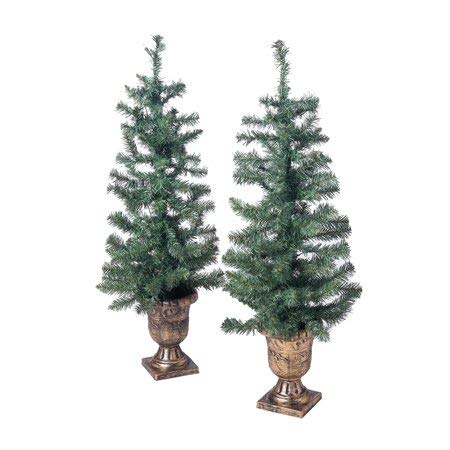 Light up Your Porch or Patio with Holiday Time 3.5ft Twin Pre-Lit Artificial Christmas Trees with 35 Clear Lights,Green (2 pk),for Indoor/Outdoor use,Makes a Gorgeous Addition to Your Holiday Decor