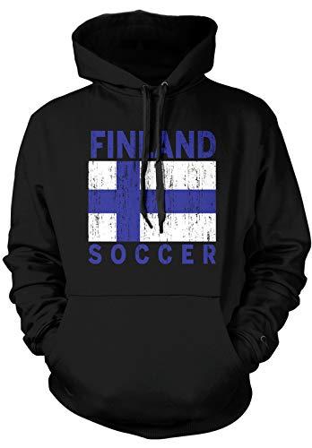Amdesco Men's Finland Flag Finnish Soccer Football Pride Hooded Sweatshirt, Black Medium (Arms Coat Of Finnish)