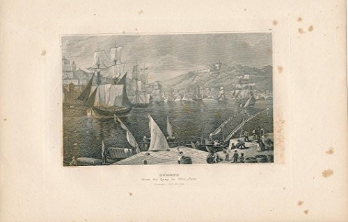 oporto-harbor-portugal-1843-original-antique-steel-engraved-city-view