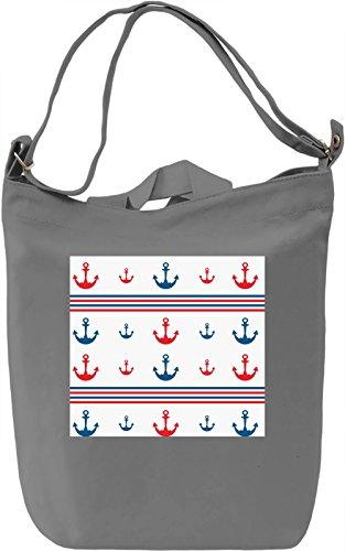 Anchor Print Borsa Giornaliera Canvas Canvas Day Bag| 100% Premium Cotton Canvas| DTG Printing|