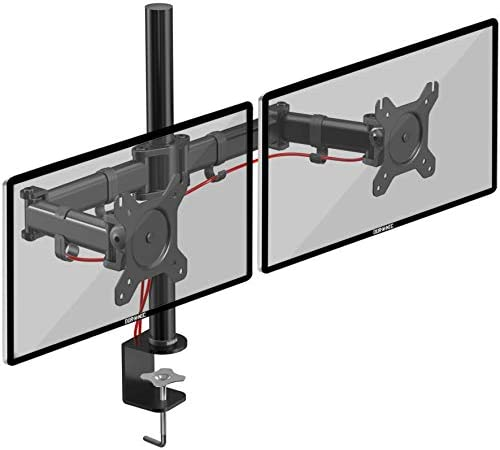 Duronic Dual Monitor Arm Stand DM252 | Double COMPUTER Desk Mount | Steel | Height Adjustable | For Two 13-27 Inch LED LCD Screens | VESA 75/100 | 8kg Per Screen | Tilt -90°/+35°, Swivel 180°, Rotate 360°