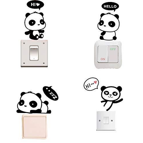 Removable Switch Sticker, 4 Pcs Cute Cartoon Pandas Wall Sticker, Light Switch Decor Decals, Family DIY Decor Art Car Stickers Home Decor Wall Art for Kids Living Room Office ()