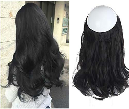 SARLA Short Hair Extension Black Halo Wire Sercet Crown Wavy Curl Synthetic Natural Hairpieces No Clip No Glue No Tape Heat Resistant Fiber 14