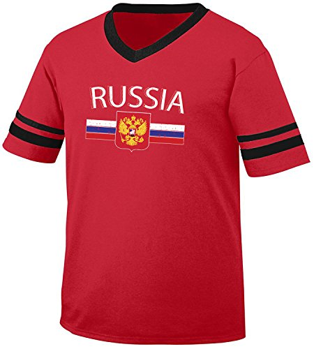 fan products of Russia Flag and Country Emblem Men's Soccer Style Sport T-Shirt, Amdesco, Red/Black Large