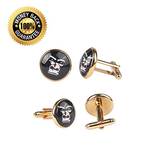 ZUNON World Map Cufflinks Wedding Personalised Gifts for Father Grandfather Dad Tie (World map Cufflinks and tie clips gold) by ZUNON (Image #2)