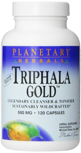 Planetary Herbals Triphala Gold 550mg,  Cleanser for GI Tract Wellness, 120 Vegetarian Capsules