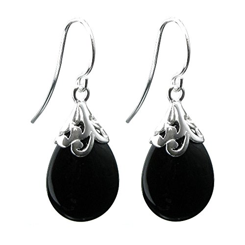 Sterling Silver Filigree Flower Bail Teardrop Black Onyx Stone Charm Dangle French Hook Earwire Earring ()