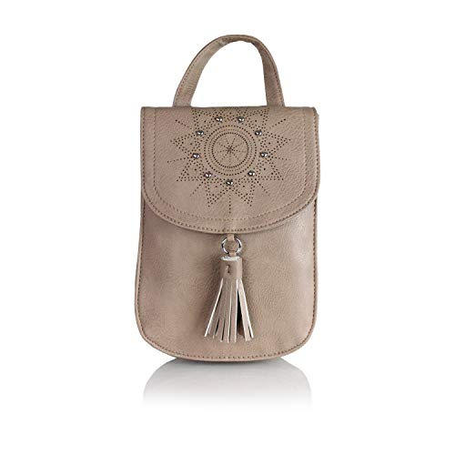 Bohemian Laser Cut Out Vegan Suede Daypack Bag- Mini Cute Hipster Perforated Design Women's Travel Backpack or School Bag (Matte Taupe Brown Vegan Leather)