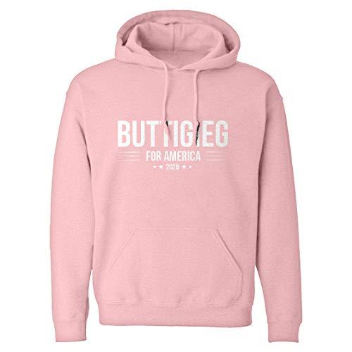 Indica Plateau Hoodie BUTTIGIEG for President 2020 Medium Light Pink Hooded Sweatshirt ()