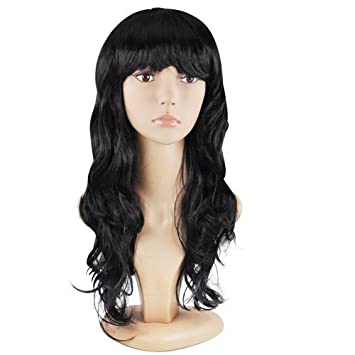 Accessotech Women s Sexy Long Curly Fancy Dress Wigs Cosplay Costume Ladies  Full Wig Party Black  Amazon.co.uk  Health   Personal Care 619262b7d1