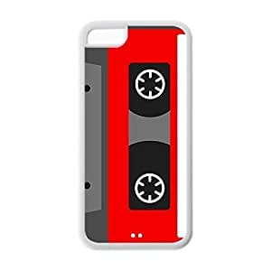 Cassette tape Custom Snap-on Soft TPU Back Case for iPhone 5C - White 225-06