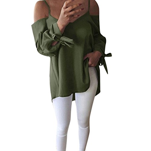 Ankola Blouse Top Hot Sale Women's Sexy Tops Spaghetti Strap Off Shoulder Knotted Long Sleeve Blouse Tunic Swing Casual T-Shirt (Green, S) by Ankola