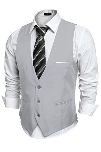 COOFANDY Mens V-Neck Sleeveless Slim Fit Jacket Casual Suit Vests,Type-02 Gray,Large