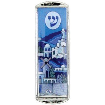 Car Mezuzah - With the Traveler's Prayer and Jerusalem Design, Nickel, 5 CM Quality Judaica