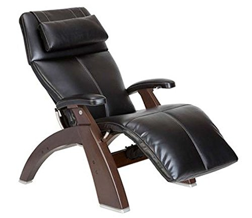 Human Touch PC-500 Silhouette Perfect Chair Series 2 Dark Walnut Electric Power Recline Wood Base Zero-Gravity Recliner - Black Top-Grain Leather - Standard Ground Shipping Included
