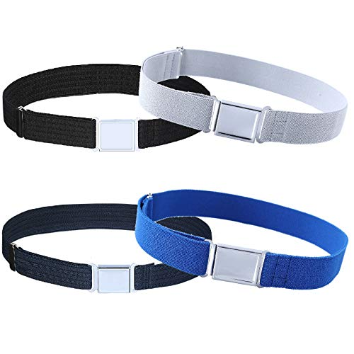 4PCS Kids Boys Adjustable Magnetic Belt - Elastic Belt with Easy Magnetic Buckle (Navy Blue Water Ripple/Black Water Ripple/Gray/Royal Blue) ()