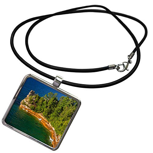3dRose Danita Delimont - Michigan - Michigan, Pictured Rocks National Lakeshore, Miners Castle - Necklace with Rectangle Pendant (ncl_314866_1)]()