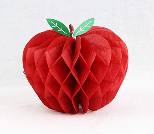 HEARTFEEL Pack of 5 Honeycomb Apple Tissue Honeycomb Hanging Apples Decorations Back to School Theme Fruit Decoration Garden Room Decoration Party Favors (Apple) -