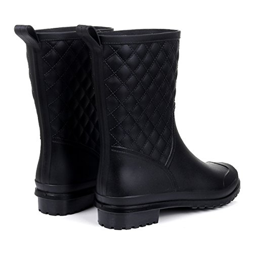 Women's Mid Boots Shoes Booties Garden Black Rubber Rain Asgard Waterproof Calf OwdOq4