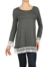 2LUV Plus Women's Long Sleeve A-Line Tunic W/Crochet Lace Trim Gray