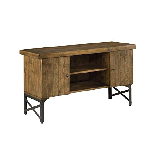 Emerald Home Chandler Rustic Wood Sofa Table with Solid Wood Top, Two Cabinets, And Open Center Shelving