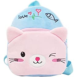 Tinksky Toddler School Bag Cartoon Blue Cat Animal Plush Nursery Shoulder Backpack for Baby 1-2 Years Christmas Birthday Gift for Children